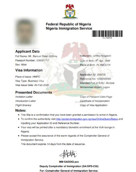 sample Nigeria visa on arrival document